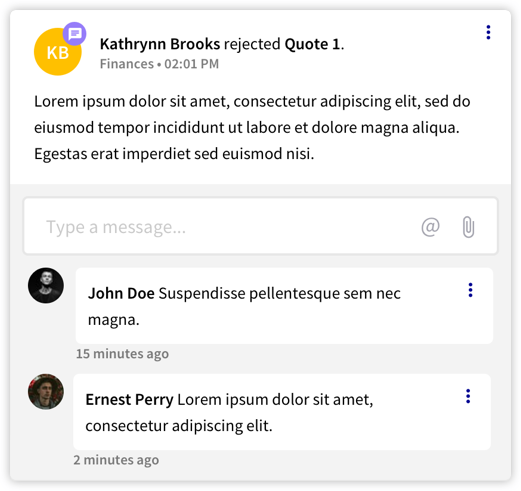 Reedge communication management activity feed comments
