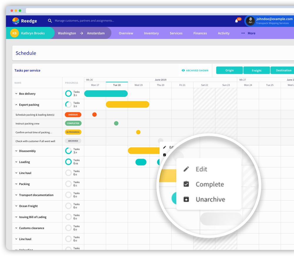 Reedge move management software planning scheduler